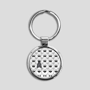 bouvierSheep_mpad Round Keychain