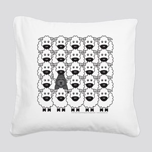 bouvierSheep_mpad Square Canvas Pillow