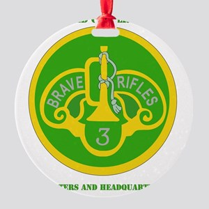3RD ACR HQ AND HQ TROOP  WITH TEXT Round Ornament