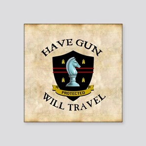 "havegun_clock Square Sticker 3"" x 3"""