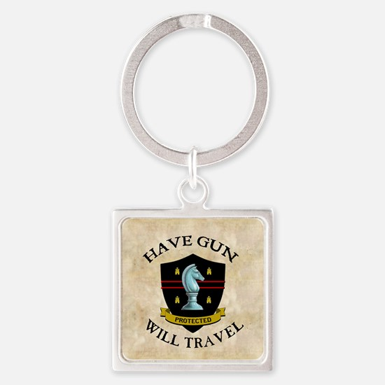 havegun_clock Square Keychain