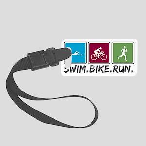 swim bike run images Small Luggage Tag