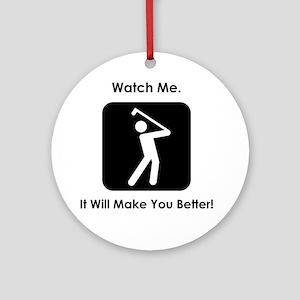 GolfWatchMe Black Round Ornament
