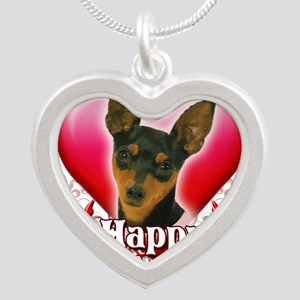 Happy Valentines Day Min Pin Silver Heart Necklace