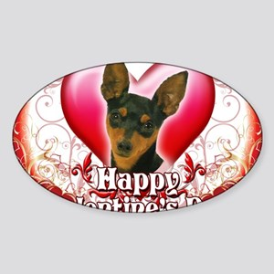 Happy Valentines Day Min Pin Sticker (Oval)