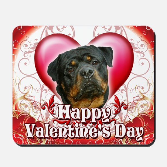 Happy Valentines Day Rottweiler2 Mousepad