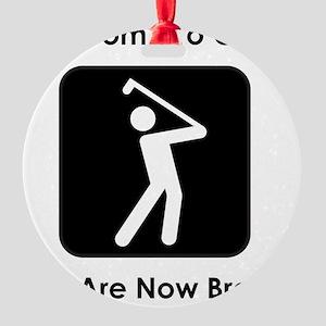 GolfBroke Black Round Ornament