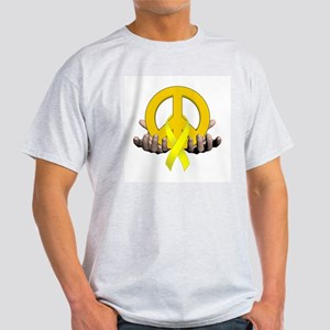 Peace Sign Yellow Ribbon Ash Grey T-Shirt