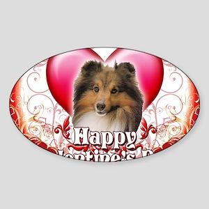 Happy Valentines Day Sheltie Sticker (Oval)