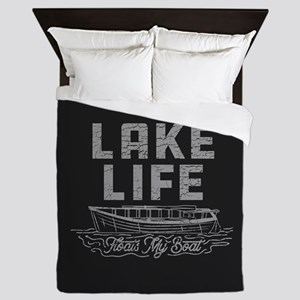 Lake Life Floats My Boat Queen Duvet