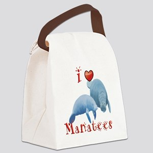 I-love-manatees Canvas Lunch Bag
