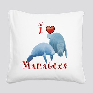 I-love-manatees Square Canvas Pillow