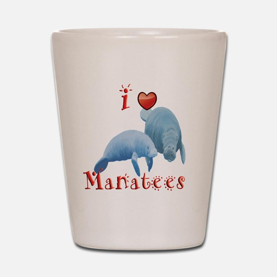 I-love-manatees Shot Glass