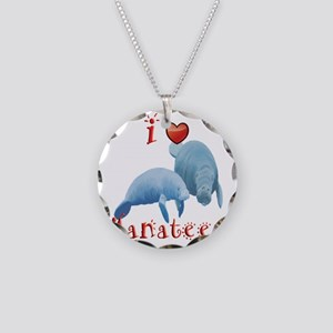 I-love-manatees Necklace Circle Charm