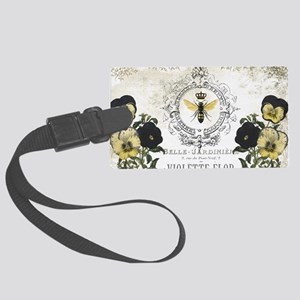 MODERN VINTAGE french pansies an Large Luggage Tag