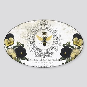 MODERN VINTAGE french pansies and b Sticker (Oval)