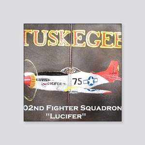 """Tuskegee P-51 Lucifer Square Sticker 3"""" x 3"""""""