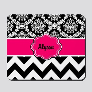 Pink Black Damask Chevron Mousepad