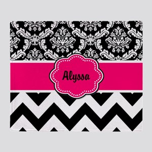 Pink Black Damask Chevron Throw Blanket