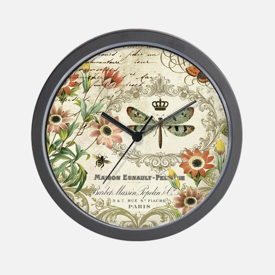Modern Vintage French dragonfly Wall Clock