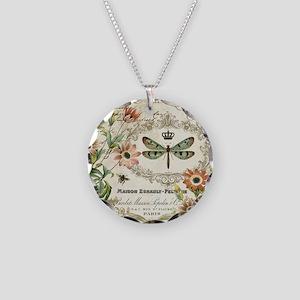 Modern Vintage French dragon Necklace Circle Charm