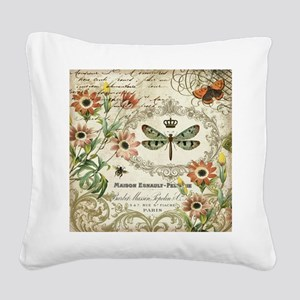 Modern Vintage French dragonf Square Canvas Pillow