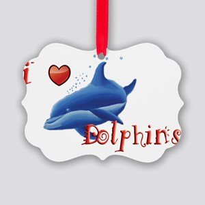 I-love-dolphins-long Picture Ornament