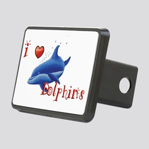 I-love-dolphins-long Rectangular Hitch Cover