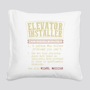 Elevator Installer Dictionary Square Canvas Pillow