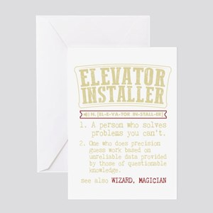 Elevator Installer Dictionary Term Greeting Cards