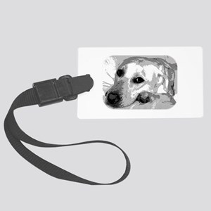 Sad White Lab Large Luggage Tag