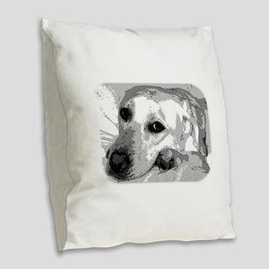 Sad White Lab Burlap Throw Pillow