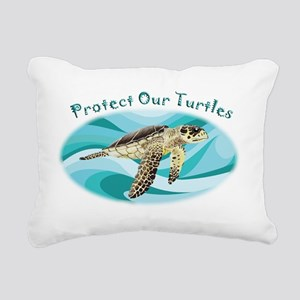 protect our turtles rect Rectangular Canvas Pillow