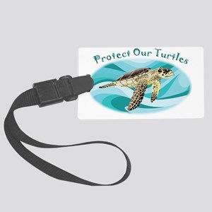 protect our turtles rectangle co Large Luggage Tag