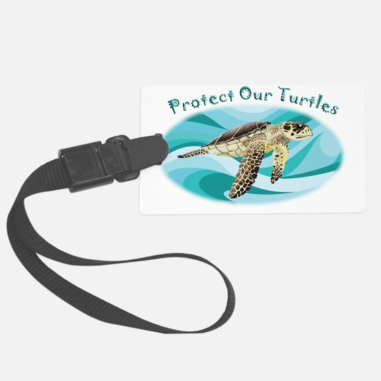 protect our turtles rectangle co Luggage Tag