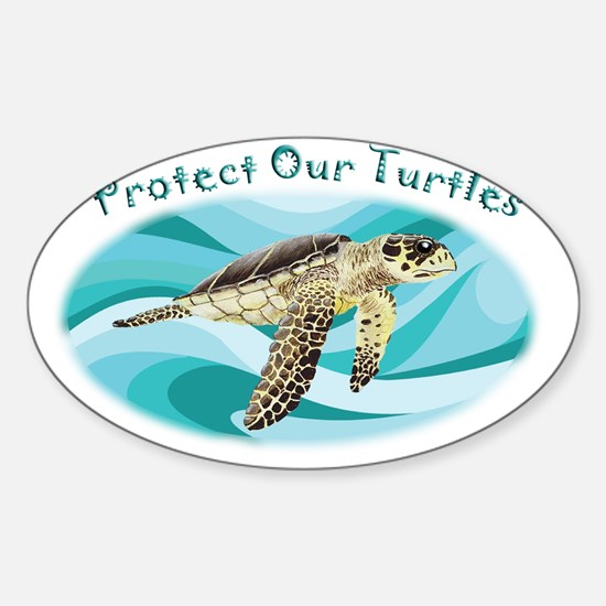 protect our turtles rectangle copy Sticker (Oval)