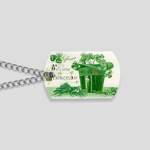 Vintage Green St Patricks Day Shamrock Ha Dog Tags