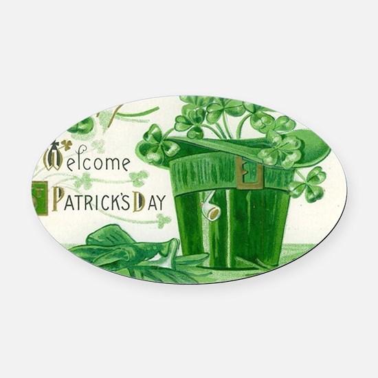 Vintage Green St Patricks Day Sham Oval Car Magnet