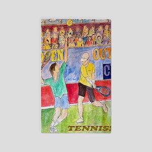 Tennis players 3'x5' Area Rug