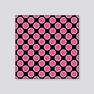 "Pink and White Polka Dots o Square Sticker 3"" x 3"""