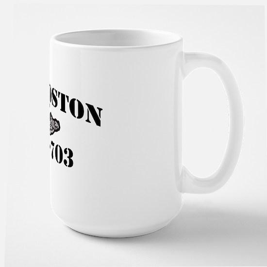 boston black letters Large Mug