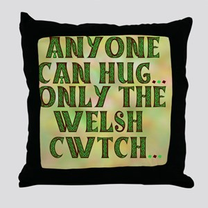 Hug And Cwtch with background Throw Pillow
