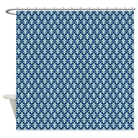 light aqua damask on dark navy blue shower curtain by familyfunshoppe. Black Bedroom Furniture Sets. Home Design Ideas