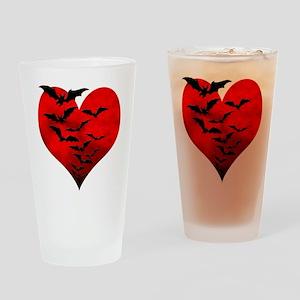 Heart_Bats_Dark_T Drinking Glass