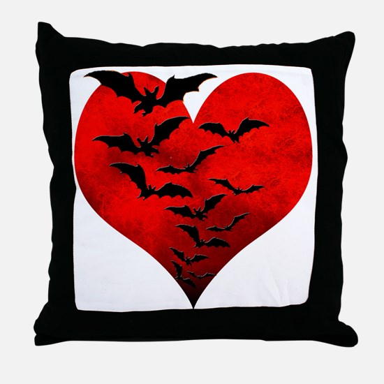 Heart_Bats_Dark_T Throw Pillow
