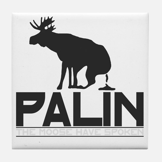 Palin Moose Dropped-b Tile Coaster