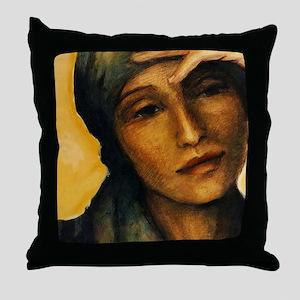 Woman thinking Throw Pillow