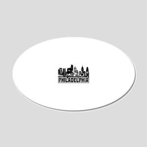 Philadelphia Skyline 20x12 Oval Wall Decal