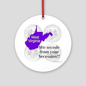 West Virginia Round Ornament