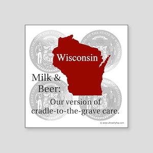 "Wisconsin Square Sticker 3"" x 3"""